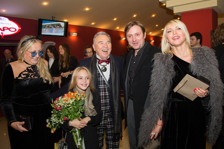 sunstroke: MOSCOW - OCTOBER,7 : T. Mikhalkova, S, Zaicev, A. Mikhalkov, D. Mikhalkova. Premiere of the movie Solnechny Udar, October,7 , 2014 at Octyabr Cinema in Moscow, Russia Editorial