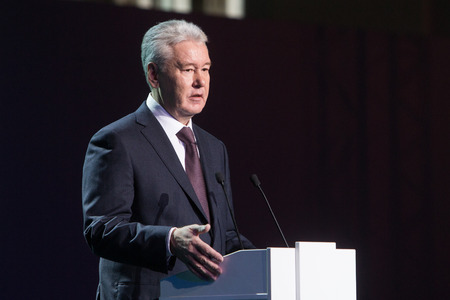 talk show: MOSCOW - OCTOBER 15: Moscow Mayor S. Sobyanin during First Moscow International Forum - Culture. Look into the future on October 15, 2014 in Moscow, Russia. Editorial