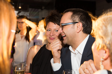 june 25: MOSCOW - JUNE, 25: Film Director Andrey Zvyagintsev (Film Leviathan). White party Hollywood Reporter Magazine at River Restorant, June 25, 2014 in Moscow, Russia Editorial