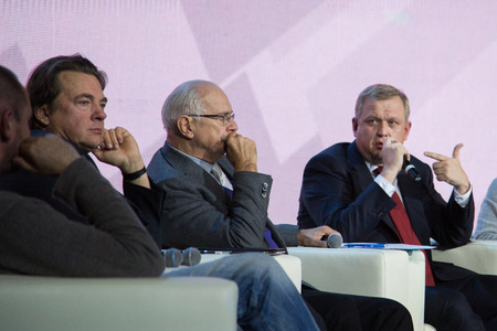 talk show: MOSCOW - OCTOBER 17: K. Ernst, N. Mikhalkov, S. Kapkov. Talk show. Art, education, and culture during First Moscow International Forum on October 17, 2014 in Moscow, Russia.