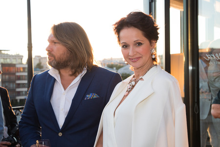 june 25: MOSCOW - JUNE, 25: Actress O.Kabo. White party Hollywood Reporter Magazine at River restaurant, June 25, 2014 in Moscow, Russia
