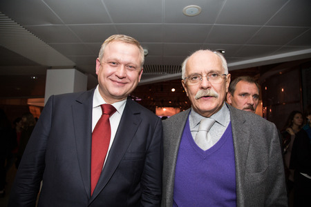 talk show: MOSCOW - OCTOBER 17: N. Mikhalkov, S. Kapkov. Talk show. Art, education, and culture during First Moscow International Forum on October 17, 2014 in Moscow, Russia.