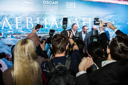 press agent: MOSCOW - JANUARY, 28: A Rodnyansky, A. Zvyagintsev, S. Melkumov. Premiere of the movie Leviathan at Moscow Cinema,  January, 28, 2015 in Moscow, Russia