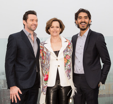 hugh: MOSCOW, RUSSIA, MARCH, 01: Hugh Jackman,S.Weaver,D.Patel. Photo-call of the movie Chappie, March, 01, 2015 at RITZ HOTEL in Moscow, Russia