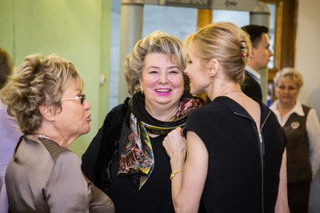 "context: MOSCOW - NOVEMBER, 26: Actress I. Dapkunaite and T.Tarasova. Festival of  Contemporary choreography ""Context. Diana Vishneva"" at The Theatre of Mossovet. November 26, 2014 in Moscow, Russia"