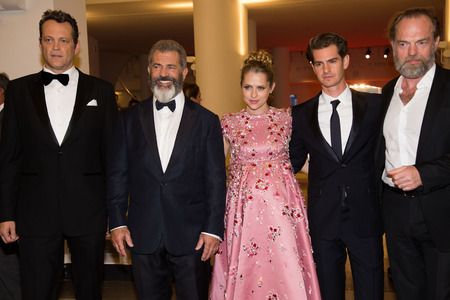 palmer: Mel Gibson, Teresa Palmer, Andrew Garfield, Vince Vaughn, Hugo Weaving  at the premiere of Hacksaw Ridge at the 2016 Venice Film Festival. September 4, 2016  Venice, Italy Editorial