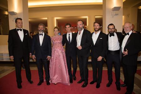 gibson: Vince Vaughn, Mel Gibson, Teresa Palmer, Andrew Garfield,  Hugo Weaving , Luke Bracey  at the premiere of Hacksaw Ridge at the 2016 Venice Film Festival. September 4, 2016  Venice, Italy