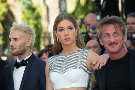 CANNES, FRANCE - MAY 20: Adele Exarchopoulos, Sean Penn, Hopper Penn attend the The Last Face premiere. 69th annual Cannes Film Festival at the Palais des Festivals on May 20, 2016 in Cannes