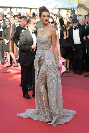 CANNES, FRANCE - MAY 20: Alessandra Ambrosio attends the The Last Face premiere. 69th annual Cannes Film Festival at the Palais des Festivals on May 20, 2016 in Cannes Editorial