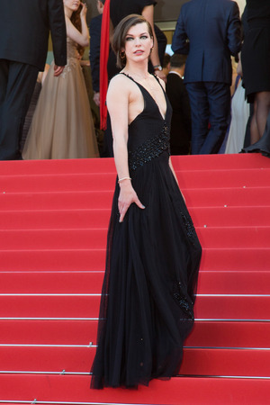 CANNES, FRANCE - MAY 20:  Milla Jovovich  attends the The Last Face premiere. 69th annual Cannes Film Festival at the Palais des Festivals on May 20, 2016 in Cannes