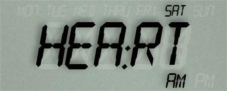 LED clock display reading HEART, illustration