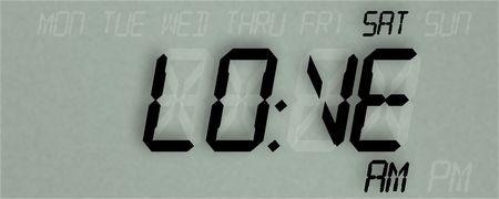 LED clock display reading LOVE, illustration Stock Photo