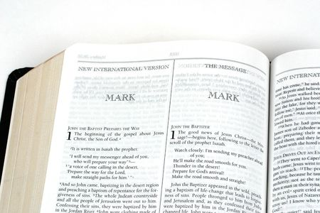 gospels: Bible open to the book of Mark Stock Photo