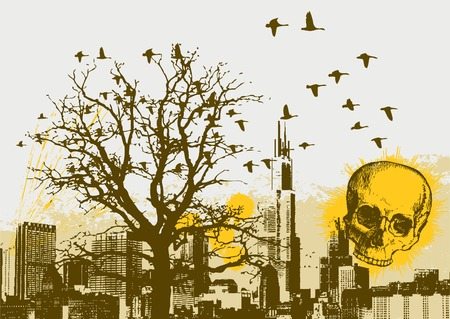 Grunge Cityscape Vector Background with Skull Vector