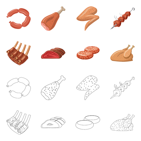 Vector design of meat and ham sign. Collection of meat and cooking vector icon for stock.