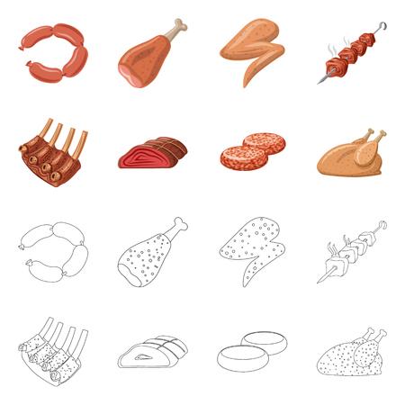 Vector ontwerp van vlees en ham teken. Verzameling van vlees en koken vector pictogram voor voorraad.