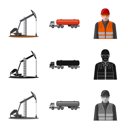 Vector illustration of oil and gas icon. Collection of oil and petrol stock vector illustration.