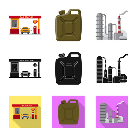 Vector design of oil and gas symbol. Set of oil and petrol stock vector illustration.