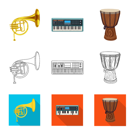 Vector illustration of music and tune . Collection of music and tool stock symbol for web.