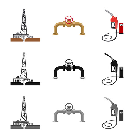Vector design of oil and gas . Collection of oil and petrol stock vector illustration. Illustration