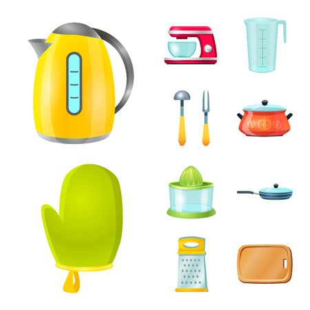 Vector design of kitchen and cook icon. Collection of kitchen and appliance vector icon for stock.