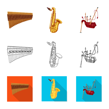 Isolated object of music and tune sign. Collection of music and tool vector icon for stock. Illustration
