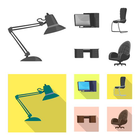 Vector design of furniture and work symbol. Collection of furniture and home stock vector illustration. 矢量图像