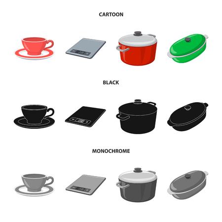 Objet isolé de l'icône de cuisine et cuisinier. Ensemble de symbole boursier de cuisine et appareil pour le web. Vecteurs