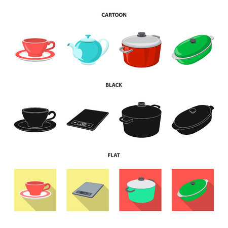 Vector design of kitchen and cook symbol. Set of kitchen and appliance vector icon for stock. Illustration