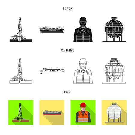 Vektordesign von Öl und Gas. Satz Öl- und Benzinvektorsymbol für Lager. Vektorgrafik