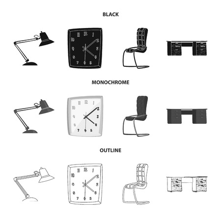 Vector design of furniture and work sign. Set of furniture and home stock symbol for web.