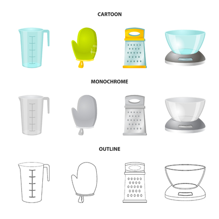 Vector illustration of kitchen and cook sign. Collection of kitchen and appliance stock vector illustration.