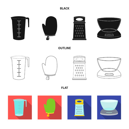 Vector illustration of kitchen and cook  . Set of kitchen and appliance vector icon for stock.