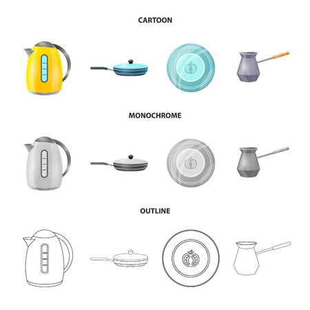 Vector design of kitchen and cook . Set of kitchen and appliance stock vector illustration. Ilustracje wektorowe