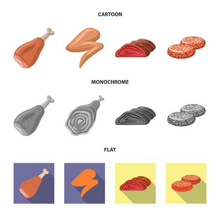Ilustración de vector de signo de carne y jamón. Conjunto de ilustración de vector de stock de carne y cocina.
