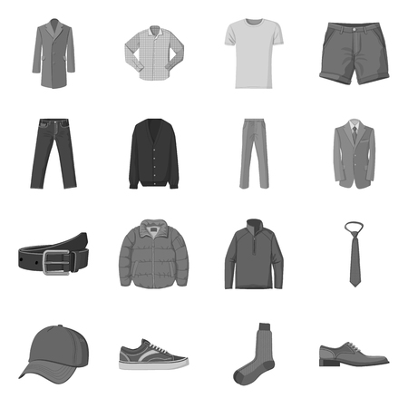 Isolated object of man and clothing  . Collection of man and wear stock vector illustration.