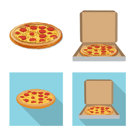 Vector design of pizza and food icon. Set of pizza and italy stock symbol for web.