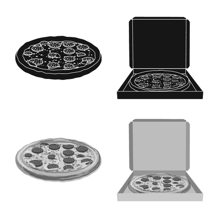 Isolated object of pizza and food symbol. Set of pizza and italy stock symbol for web. 일러스트