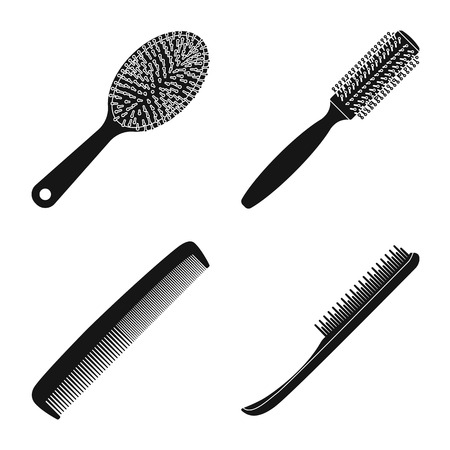 Vector design of brush and hair sign. Set of brush and hairbrush vector icon for stock.