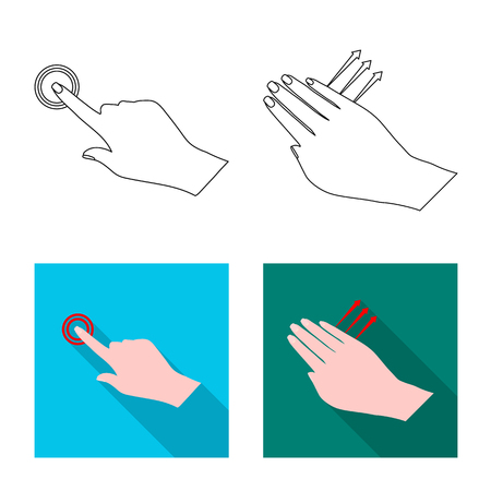 Vector design of touchscreen and hand symbol. Collection of touchscreen and touch vector icon for stock.
