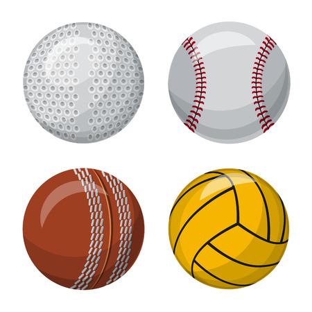 Isoliertes Objekt der Sport- und Ballikone. Satz Sport und sportliches Aktiensymbol für Web.