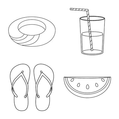 Vektor-Illustration von Ausrüstung und Schwimmen. Sammlung von Ausrüstungs- und Aktivitätsvektorsymbolen für Aktien.