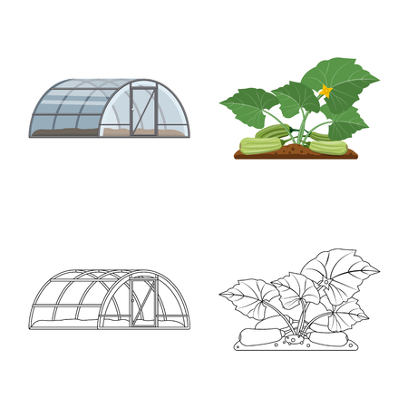 Isolated object of greenhouse and plant symbol. Collection of greenhouse and garden stock symbol for web. Zdjęcie Seryjne - 108839747