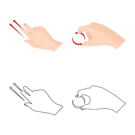 Isolated object of touchscreen and hand  . Set of touchscreen and touch stock symbol for web.