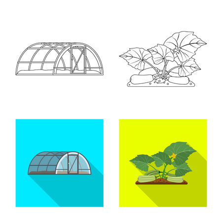 Vector design of greenhouse and plant icon. Collection of greenhouse and garden stock vector illustration.
