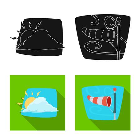 Vektorillustration des Wetter- und Klimasymbols. Satz Wetter- und Wolkenvorratvektorillustration.