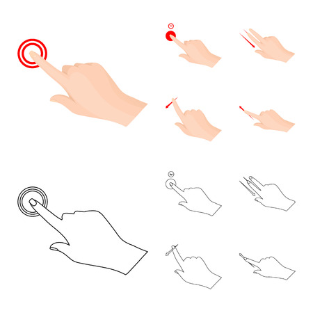 Vector design of touchscreen and hand icon. Set of touchscreen and touch vector icon for stock.