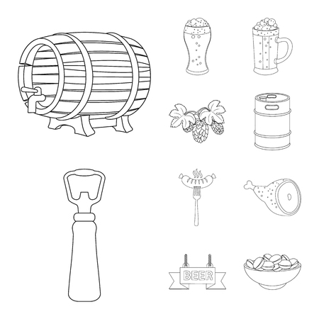 Vector illustration of pub and bar icon. Collection of pub and interior vector icon for stock. Stock Illustratie