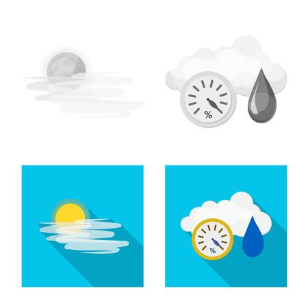 Illustrazione vettoriale di simbolo del tempo e del clima. Raccolta di meteo e cloud stock illustrazione vettoriale. Vettoriali