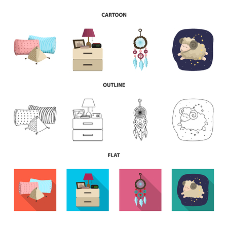 Vector design of dreams and night . Set of dreams and bedroom stock symbol for web. Vector Illustratie